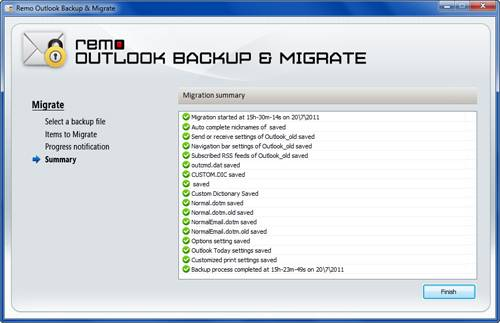 Migrate Outlook- Migration Summary